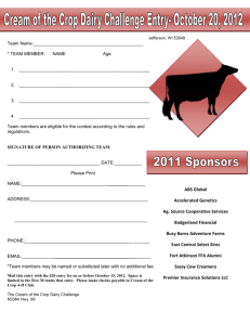 Jefferson County Dairy Challenge Entry Form - Jackson County 4-H