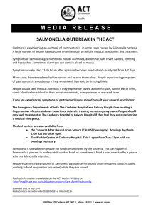 Salmonella Outbreak in the ACT Media Release