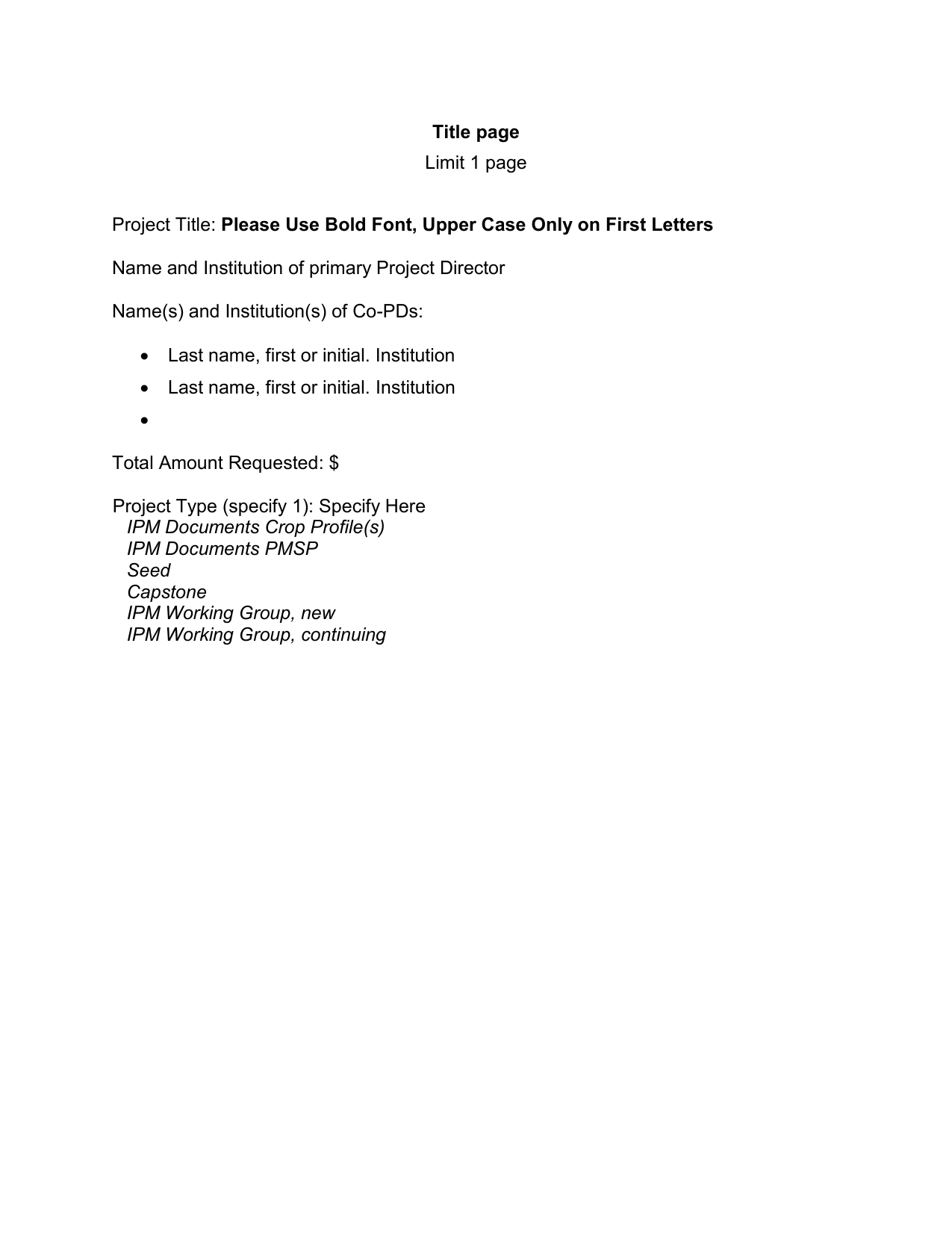 group project title page