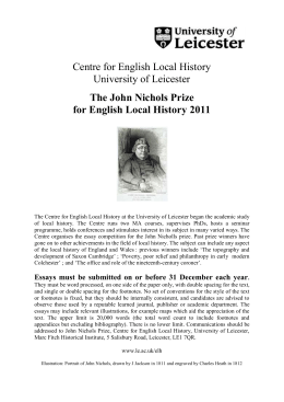 The John Nichols Prize for English Local History