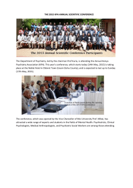 THE 2015 KPA ANNUAL SCIENTIFIC CONFERENCE