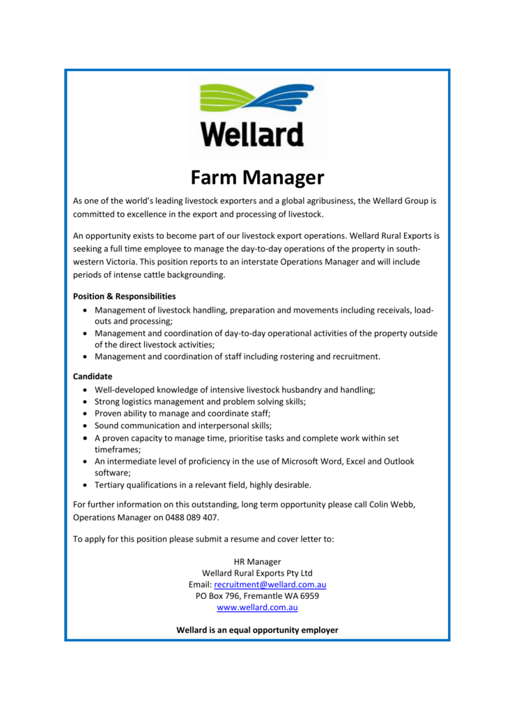 Fine Farm Manager Resume Wa Photo - Administrative Officer Cover ...
