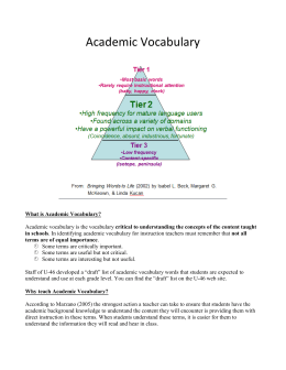 Academic Vocabulary Handout