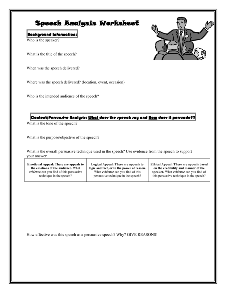 Speech Analysis Worksheet