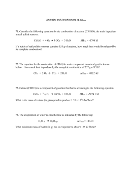 SCH3U Combustion reactions handout and worksheet