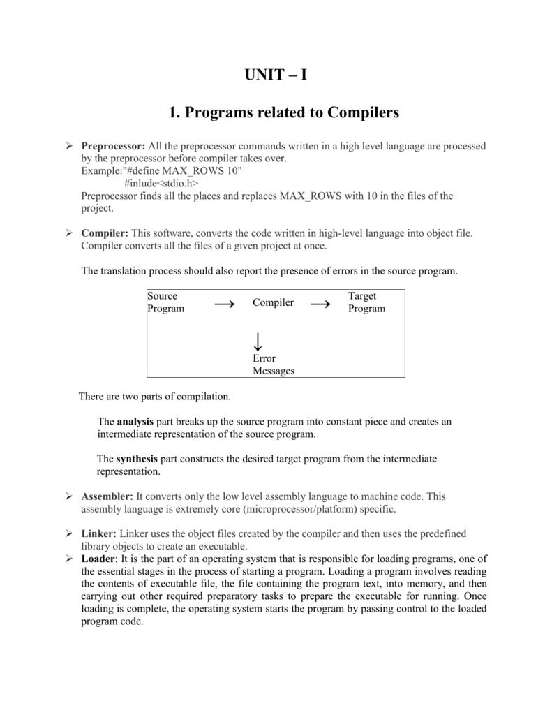 Compiler construction unit - 1