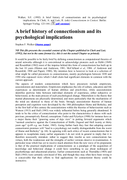 A brief history of connectionism and its psychological implications