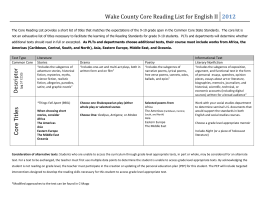 Wake County Core Reading List for English II