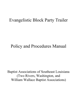Block Party Trailer Manual - Baptist Associations of Southeast