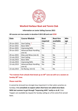 Junior Sailing Application Form - Wexford Harbour Boat and Tennis