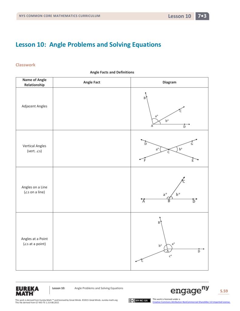 worksheet Adjacent And Vertical Angles Worksheet grade 7 mathematics module 3 topic b lesson 10