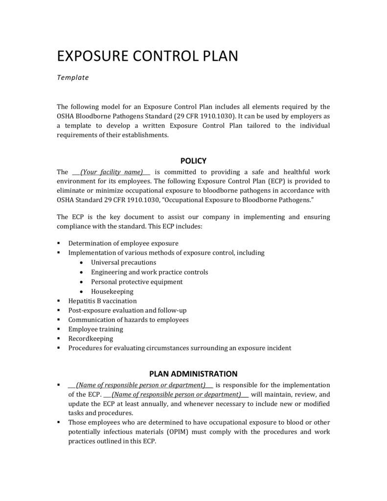 Control Plan Templates | Exposure Control Plan Template