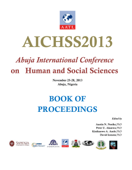 Abuja International Conference on Human and Social Sciences 2013