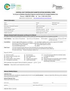 Central East CCAC Centralized Diabetes Intake Referral Form