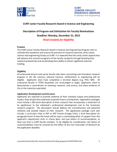 CUNY Junior Faculty Research Award in Science and