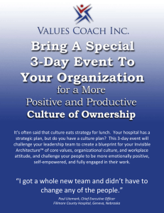 Day 1: Management Retreat on Creating a Cultural Blueprint for