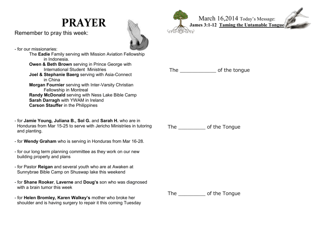 Sermon notes, Prayer, and Home Group Questions
