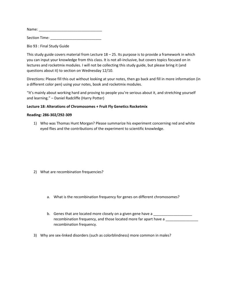 Bio 93 Final Study Guide P1