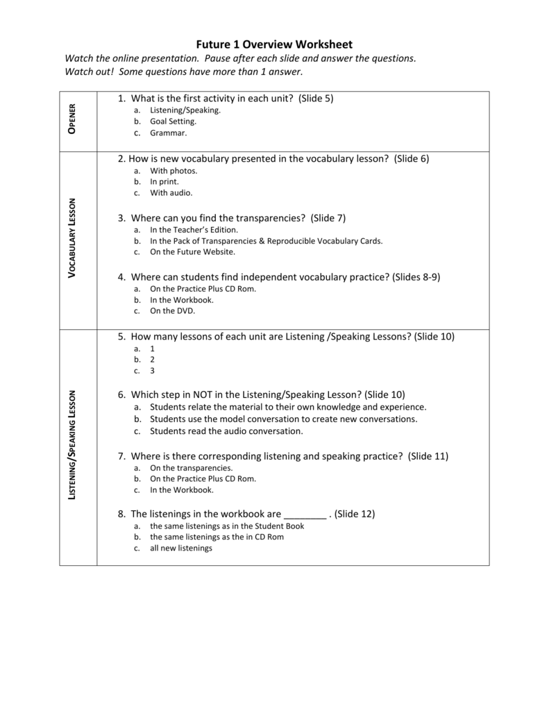 Level 1 Worksheet - Future – English For Results