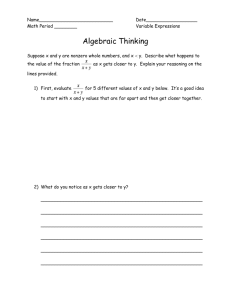 Algebraic Thinking Sheet