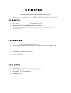 Clouds worksheet.