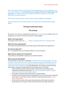 Sample participant information sheet