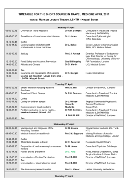 timetable for the short course in travel medicine april 2011