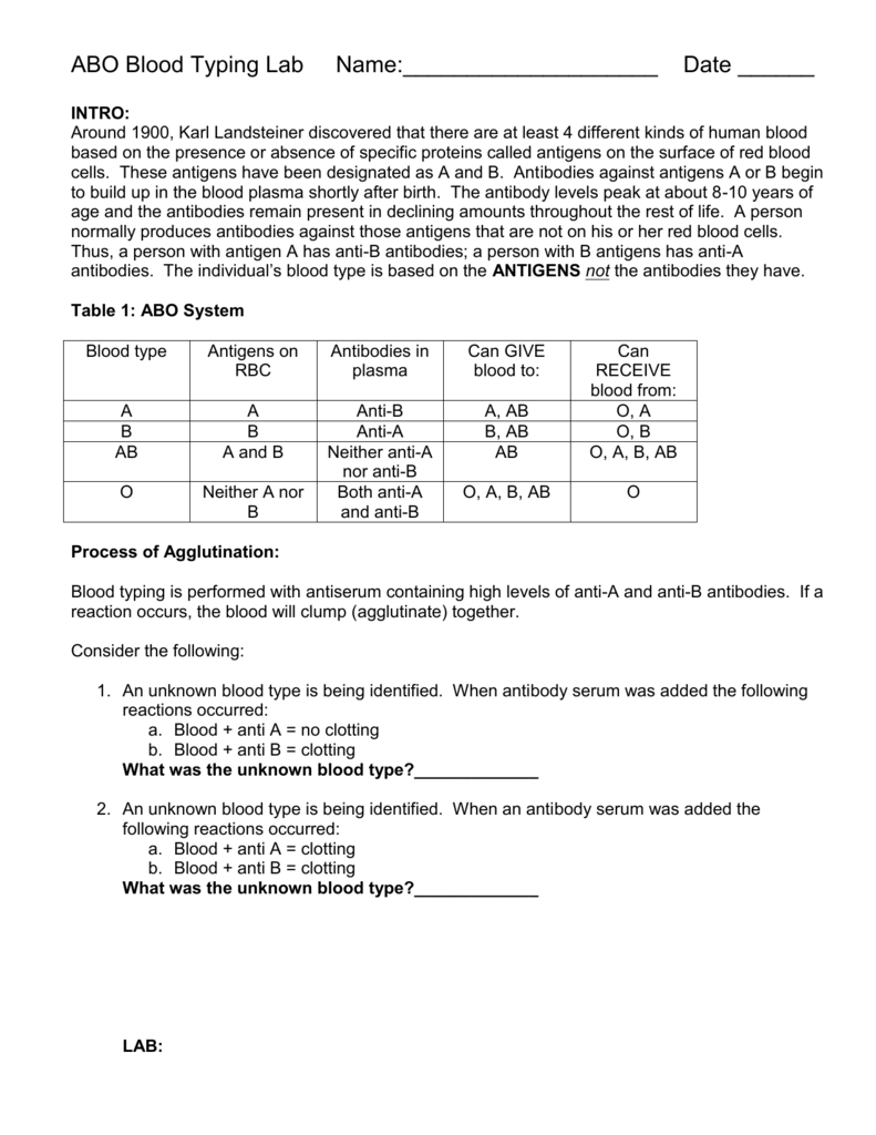 blood typing lab and questions