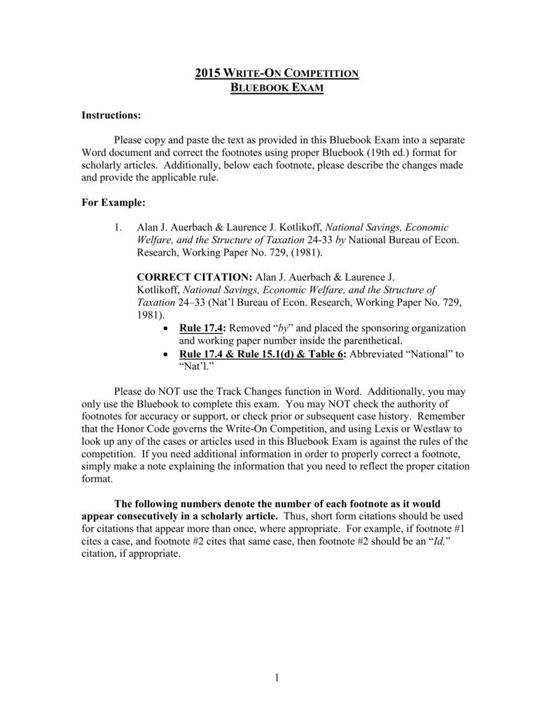 Transfer Bluebook Exam George Mason Law Review