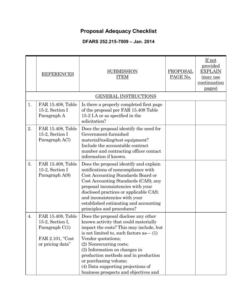 Proposal-Adequacy-Checklist-DFARS-252 215-7009-Jan