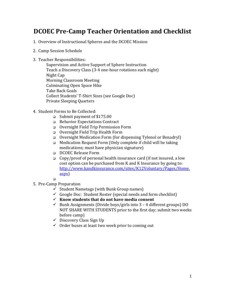 Pre-Camp Teacher Information Packet