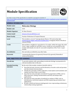 3333 Molecular Biology Module Specification