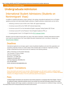 International Student Admissions - The University of Texas at Dallas