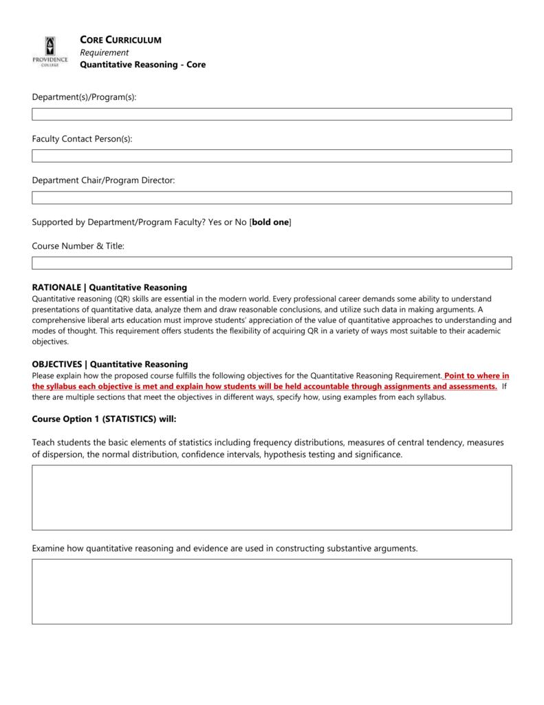 Quantitative Reasoning CCC Form