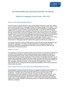 DFE PROGRAMME FOR LANGUAGES SUPPORT TO SCHOOLS