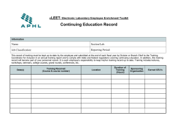Continuing Education Record