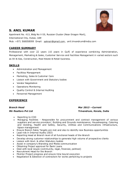 S. Anil Kumar, Administration & Facilities Manager CV