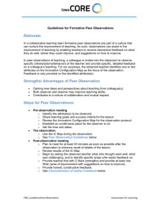 Guidelines for Peer Observations