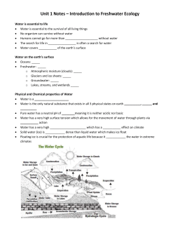Unit 1 Notes – Introduction to Freshwater Ecology