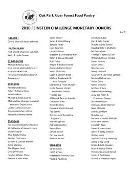 Feinstein Challenge Donor List 2010
