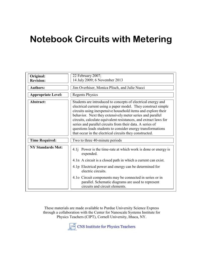 Parallel Circuits Purdue University Type Digital Multimeter Principle Circuit Basiccircuit