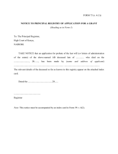 FORM 73-NOTICE TO PRINCIPAL REGISTRY OF