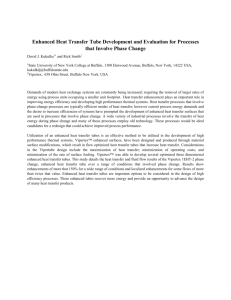 Enhanced Heat Transfer Tube Development and Evaluation for