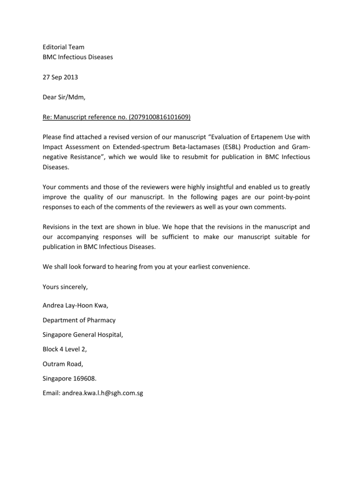 Editorial Team BMC Infectious Diseases 27 Sep 2013 Dear Sir/Mdm