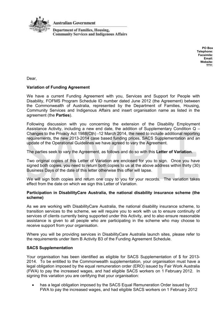 Variation Of Funding Agreement Letter Sample