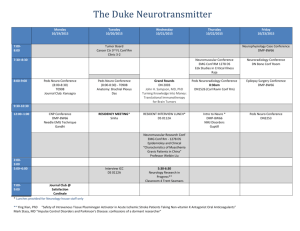 The Duke Neurotransmitter Monday 10/19/2015 Tuesday 10/20