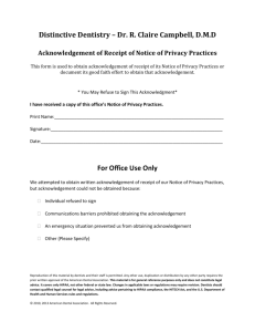 Receipt of Notice of Privacy Practices