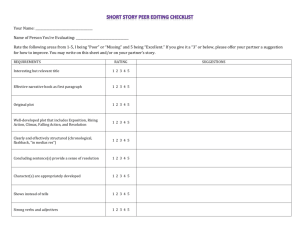 Short Story Peer Editing Checklist