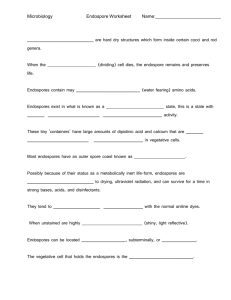 Microbiology Endospore Worksheet Name: are hard dry structures