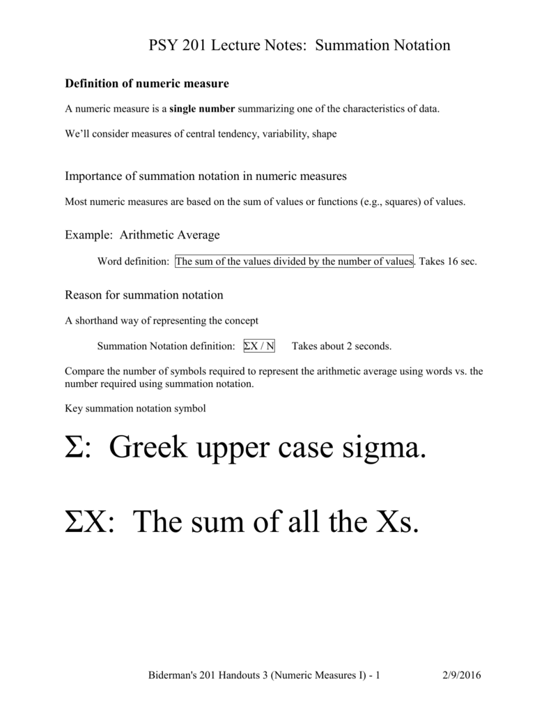 Psychology 2010 Lecture 3 Notes Summation Notation